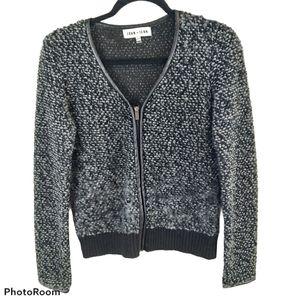 John + Jenn Black Wool Blend Zip Sweater sz XS